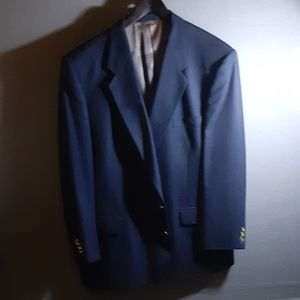 52R classic blue wool blazer with metal buttons